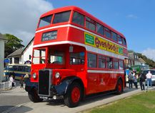 Vintage Red Double Decker Bus Restored Northanpton Transport Corporation 库存图片