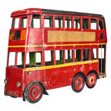 Vintage London bus toy isolated on white Royalty Free Stock Image