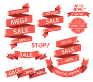 Vintage red flat Ribbons Banner Collection with sale tag royalty free illustration