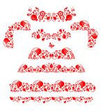 Vintage red floral borders, corners and headers set decoration with pomegranates fruit on white background