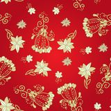 Vintage red floral seamless pattern Stock Photos
