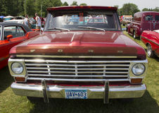 Vintage Red Ford F100 Pickup Truck Front View Royalty Free Stock Image