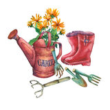 Vintage red garden watering can with a bouquet of yellow flowers, red rubber boots and garden tools. Royalty Free Stock Image