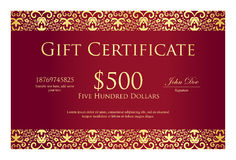 Vintage red gift certificate with golden ornament Royalty Free Stock Images