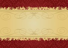 Vintage Red and Gold decorative banner stock illustration