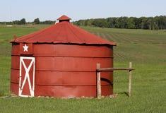 Vintage red grain bin Stock Photos