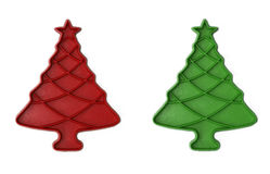 Vintage Red / Green Christmas Tree Cookie Cutters. Vintage Red and Green Christmas Tree Cookie Cutters isolated on white background Royalty Free Stock Photos