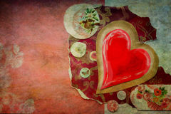 Vintage red heart. Red heart on a colored background stock photos