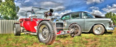 Vintage red hot rod Royalty Free Stock Photos