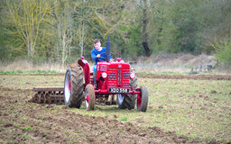 Vintage red International 1960`s  tractor ploughing field. Royalty Free Stock Photography