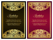 Vintage red invitation cover with golden lace deco Stock Photos