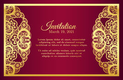 Vintage red invitation cover with golden lace deco Royalty Free Stock Photography