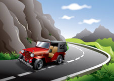 Vintage red Jeep  illustration. Red vintage jeep on mountain in a hill station road Stock Image