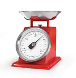 Vintage red kitchen scales isolated on white background, clippin Stock Photo