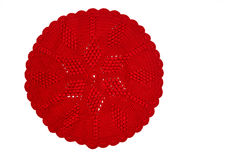 Vintage red knitted doily Stock Photo