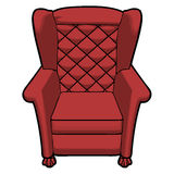 Vintage red leather armchair view front Royalty Free Stock Photography