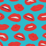 Vintage red lips kiss seamless pattern on the blue background. Royalty Free Stock Photos