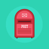 Vintage red Mail box post icon. Flat design illustration. Stock Photography
