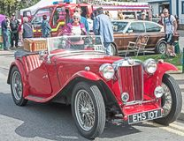 Motor mania at Grantown. Vintage red MG Sports car on show at the Motor Mania event held at Grantown on Spey on 3rd September 2017 stock images