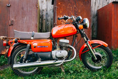 Vintage Red Motorcycle Generic Motorbike In Royalty Free Stock Photography