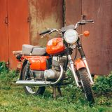 Vintage Red Motorcycle Generic Motorbike In Royalty Free Stock Photos