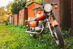 Vintage Red Motorcycle Generic Motorbike In Stock Photos