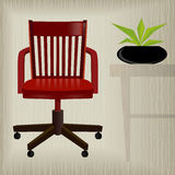 Vintage Red Office Chair. Vintage/retro red office chair with a stylish background; easy-edit layered file makes changing the chair color simple stock illustration