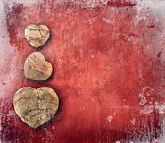 Vintage red paper with hearts royalty free stock images