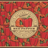 Vintage Red Pepper Label On Seamless Pattern Royalty Free Stock Photos
