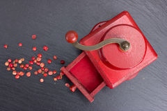 Vintage, red pepper mill with peppercorns Stock Image