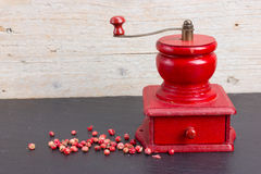 Vintage, red pepper mill Stock Image