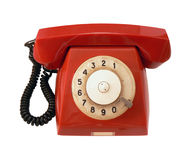 Vintage red phone. On white background royalty free stock photography