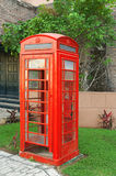 Vintage red phone booth Royalty Free Stock Photos