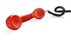 Vintage red phone. On white background royalty free stock image