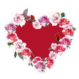 Vintage red and Pink flowers wreath with watercolor roses on white background. stock illustration
