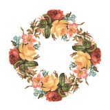 Vintage red pink and yellow vintage rose flower bouquet wreath Stock Photography