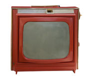 Vintage red portable television Stock Images