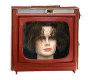 Vintage red portable television Stock Photos