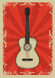 Vintage red poster with guitar Stock Photo