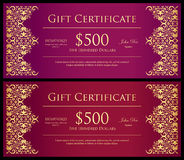 Vintage red and purple gift certificate with golde Royalty Free Stock Photography
