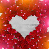 Vintage red rose petals in heart shape. vector. Stock Photography