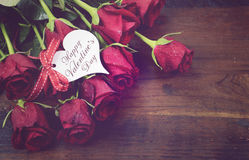 Vintage red roses gift with sample text Stock Photo