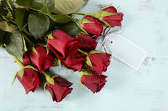 Vintage red roses gift Royalty Free Stock Image