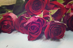 Vintage red roses gift Stock Photos