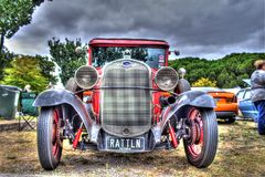 Vintage 1930s American Ford motorcar. Vintage red 1930s American built Ford Model A on display at car and bike show in Melbourne, Australia Stock Images
