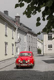 Vintage red saab. Vadstena. Sweden Stock Photos