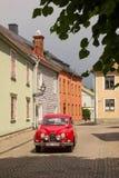 Vintage red saab. Vadstena. Sweden Stock Image