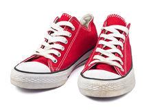 Vintage red shoes. On white background Royalty Free Stock Photos