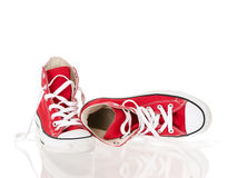 Vintage red shoes relaxed Royalty Free Stock Image