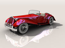 Vintage red sports car 3D model. Vintage red sports car - Shiny old Hot Rod 3D model on reflective surface with clipping work path included royalty free illustration